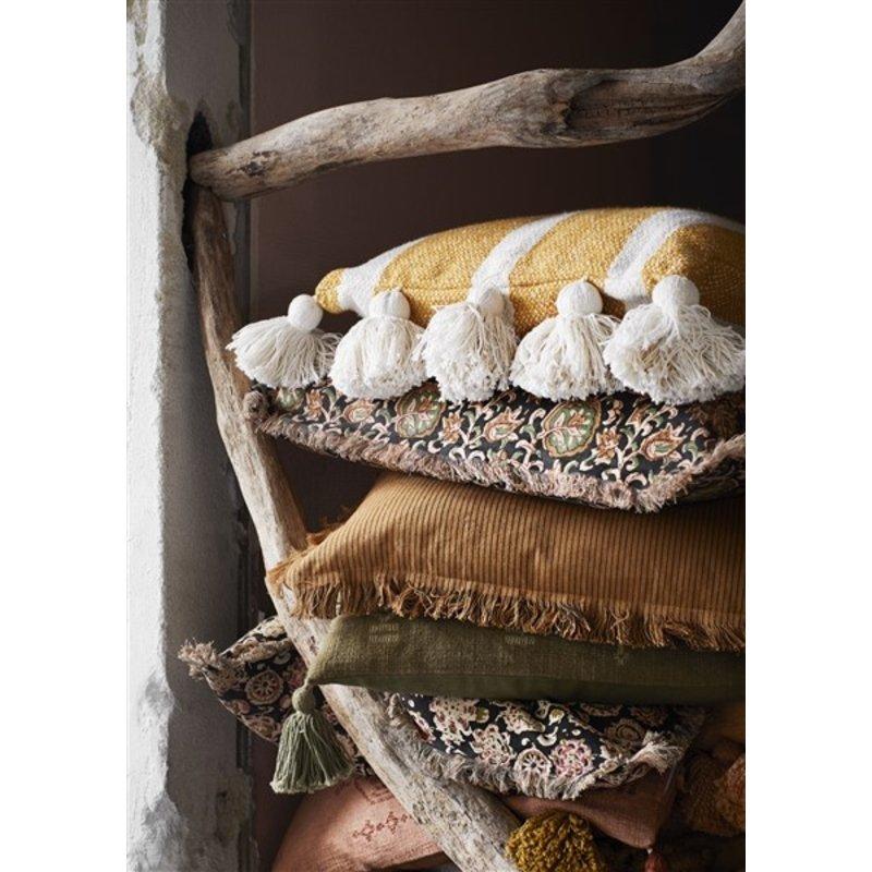 Madam Stoltz-collectie Kussenhoes gestreept oker, offwhite met kwastjes
