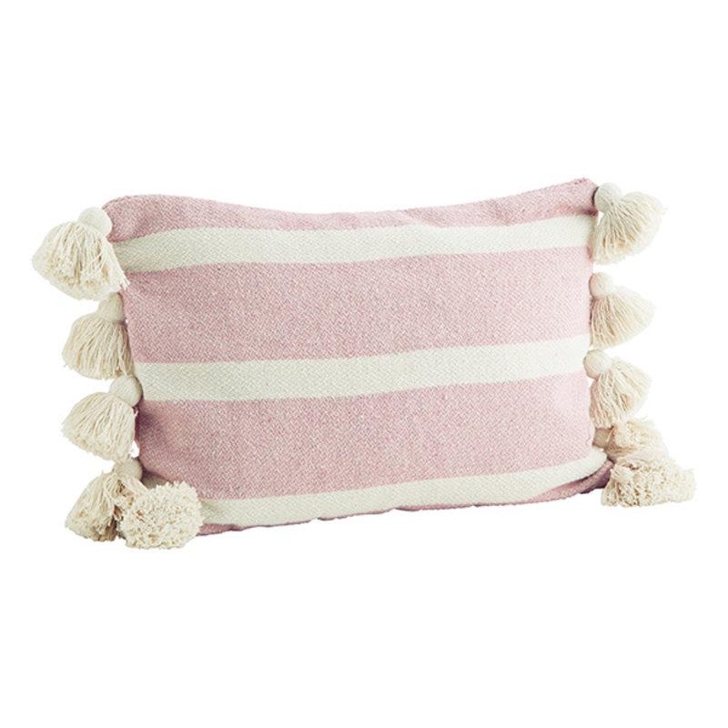 Madam Stoltz-collectie Kussenhoes gestreept roze met kwastjes