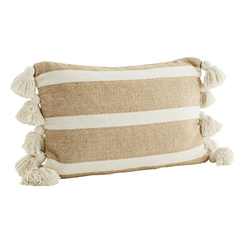 Madam Stoltz-collectie Striped cushion cover w/ tassels