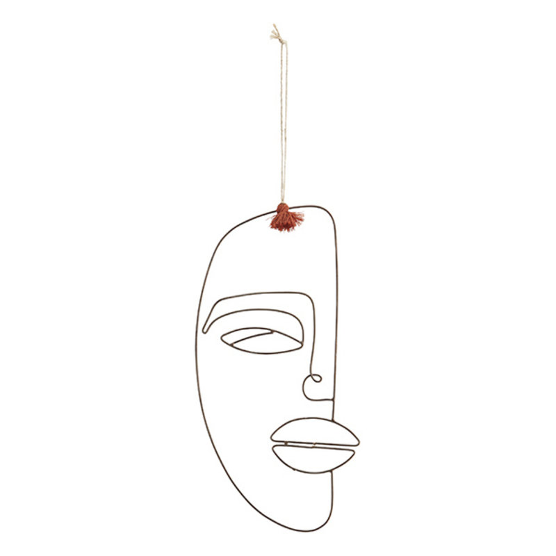 Madam Stoltz-collectie Hanging iron face deco