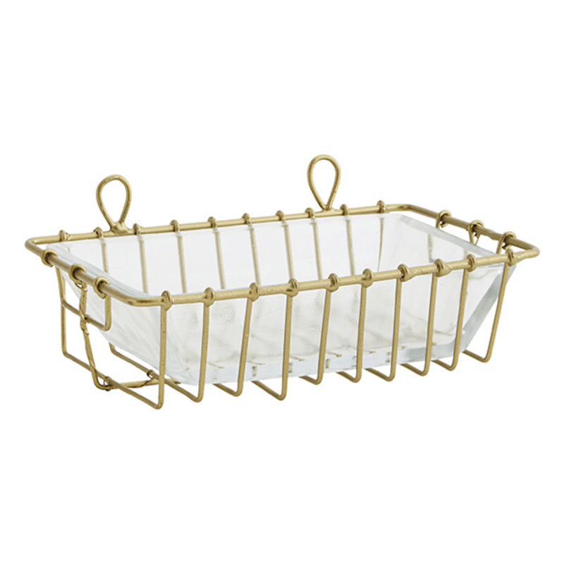 Madam Stoltz-collectie Hanging iron soap dish w/ glass