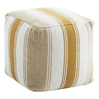 Madam Stoltz Woven cotton pouf Off white, sand, oil 40x40x40 cm
