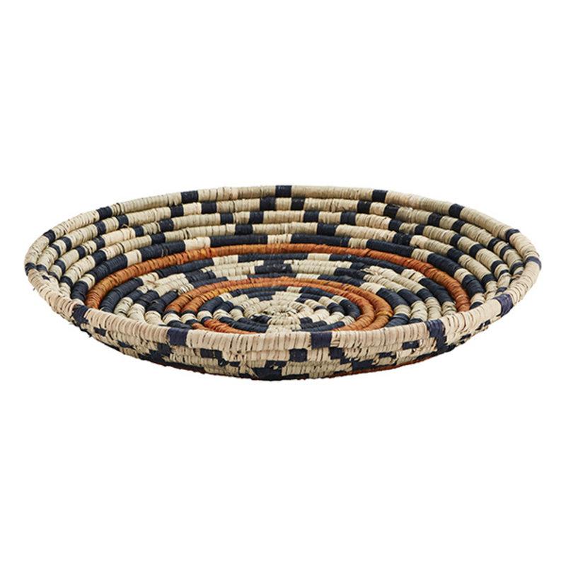 Madam Stoltz-collectie Seagrass tray Natural, black, orange D:45 cm
