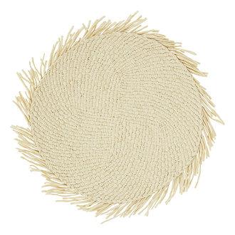 Madam Stoltz Paper rope placemat w/ fringes