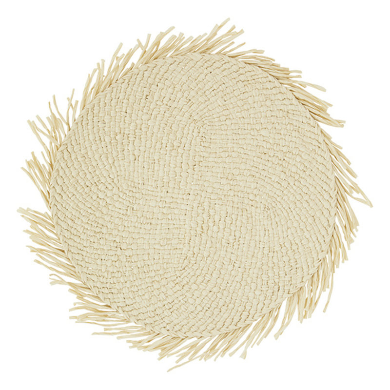 Madam Stoltz-collectie Paper rope placemat w/ fringes