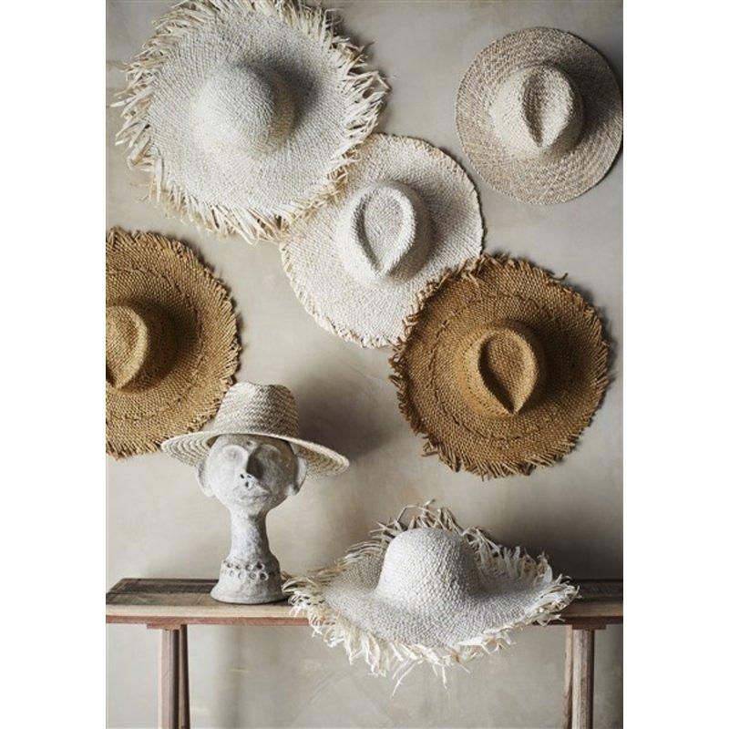 Madam Stoltz-collectie Zonnehoed rond naturel met franjes