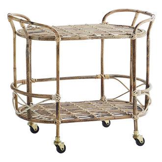 Madam Stoltz Bamboo trolley Natural, ant.brass, black 85x41x76 cm
