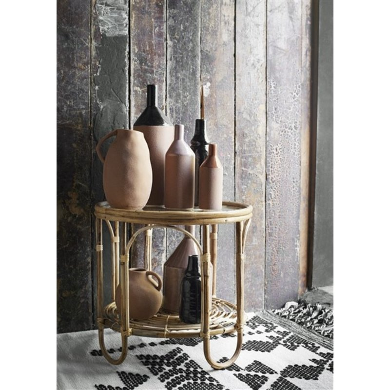 Madam Stoltz-collectie Bamboo coffee table Natural, clear D:49x46 cm