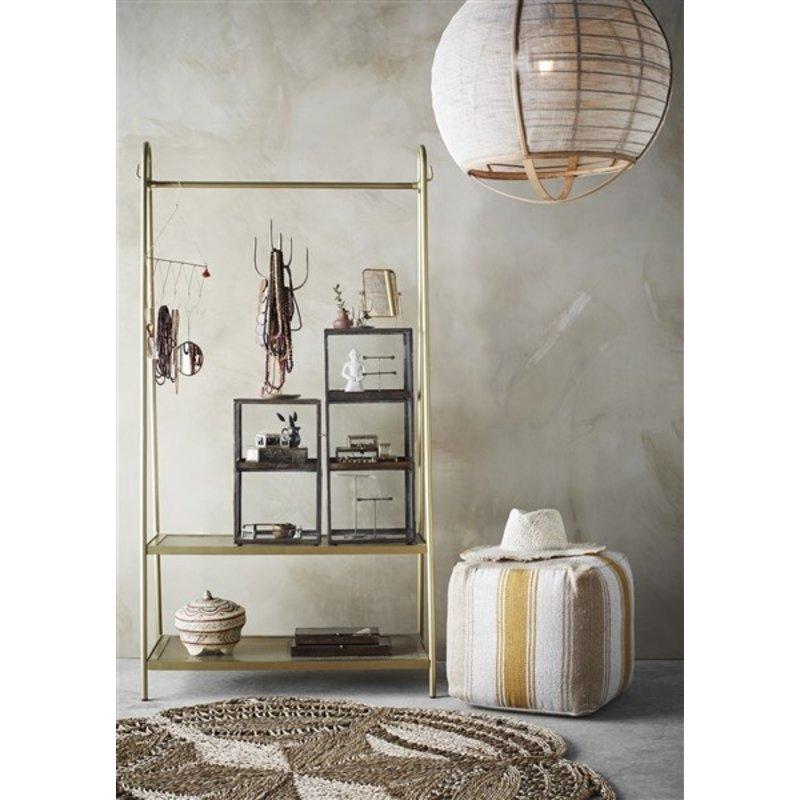 Madam Stoltz-collectie Glass cabinet w/ shelves Clear, aged brass 25x25x64 cm