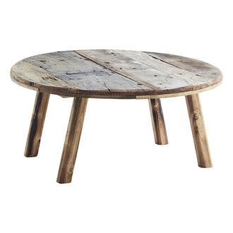 Madam Stoltz Round wooden coffee table Natural D:90x40 cm