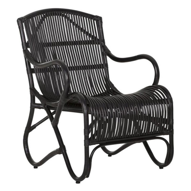 MUST Living-collectie Loungestoel zwart rotan Como