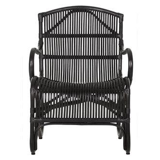 MUST Living Loungestoel zwart rotan Como