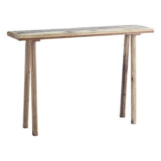 Madam Stoltz Wooden console table Natural 105x25x70 cm