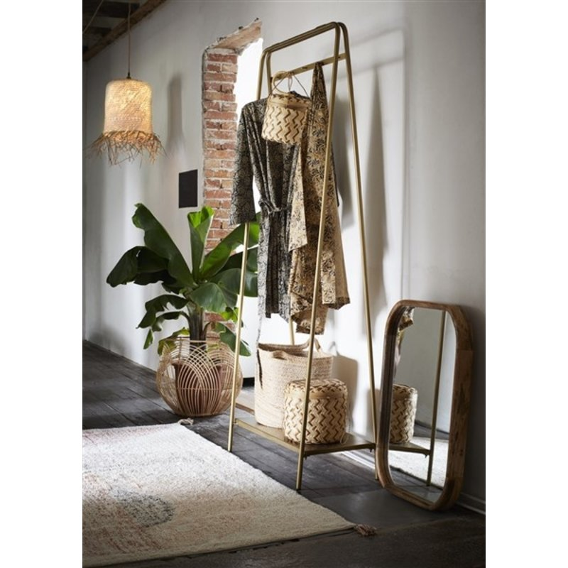 Madam Stoltz-collectie Clothes rack w/ shelf and hooks Ant.brass 76x36x180 cm