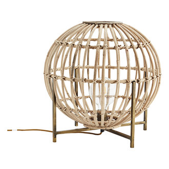 Madam Stoltz Tafellamp bamboe bol op antiek brass voet