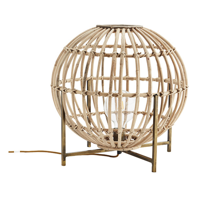 Madam Stoltz-collectie Bamboo table lamp Natural, ant.brass D:55x55 cm