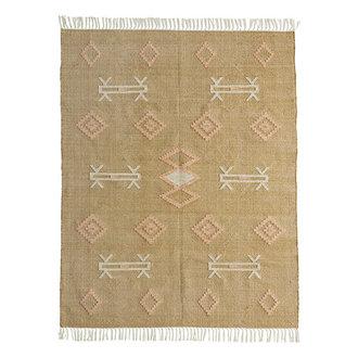 Madam Stoltz Handwoven cotton rug Mustard, off white, peach 120x180 cm