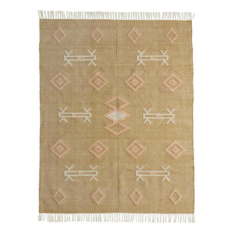 Madam Stoltz-collectie Katoenen vloerkleed mosterd met handgeweven print