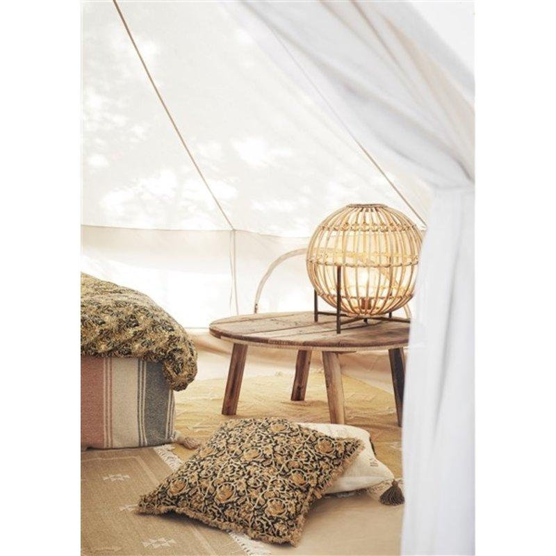 Madam Stoltz-collectie Handwoven cotton rug Mustard, off white, peach 120x180 cm