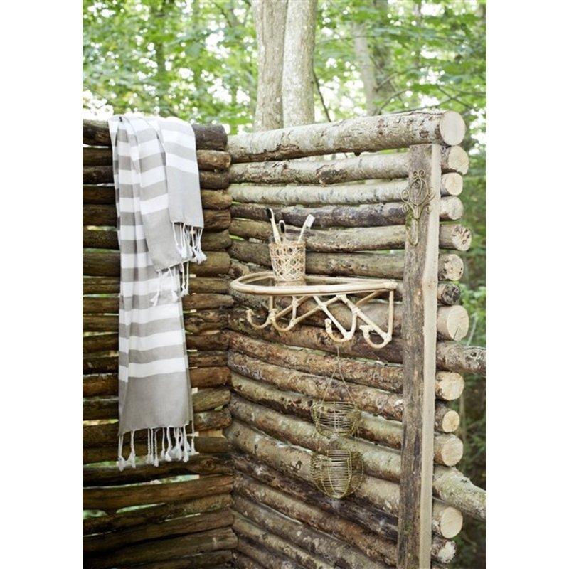 Madam Stoltz-collectie Bamboe wandplank met haakjes