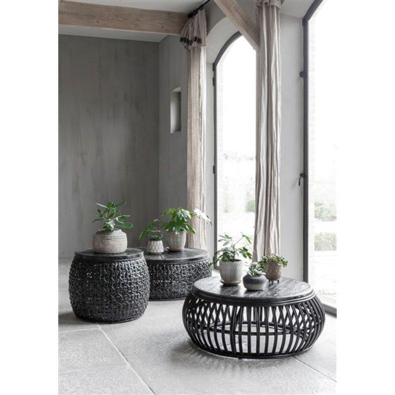 MUST Living-collectie Salontafel zwart rotan Rimini -L-