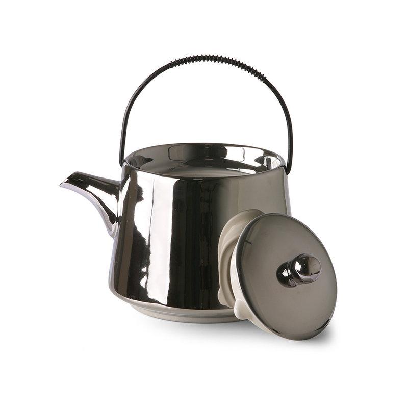 HKliving-collectie Theepot zilver bold & basic Keramiek