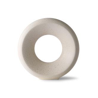 HKliving Ceramic circle vase M white speckled