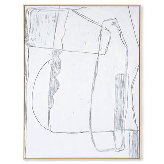 HKliving Ingelijst schilderij Brutalism wit 120x160cm