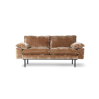 HKliving Retro sofa: 2-seats, velvet corduroy aged gold