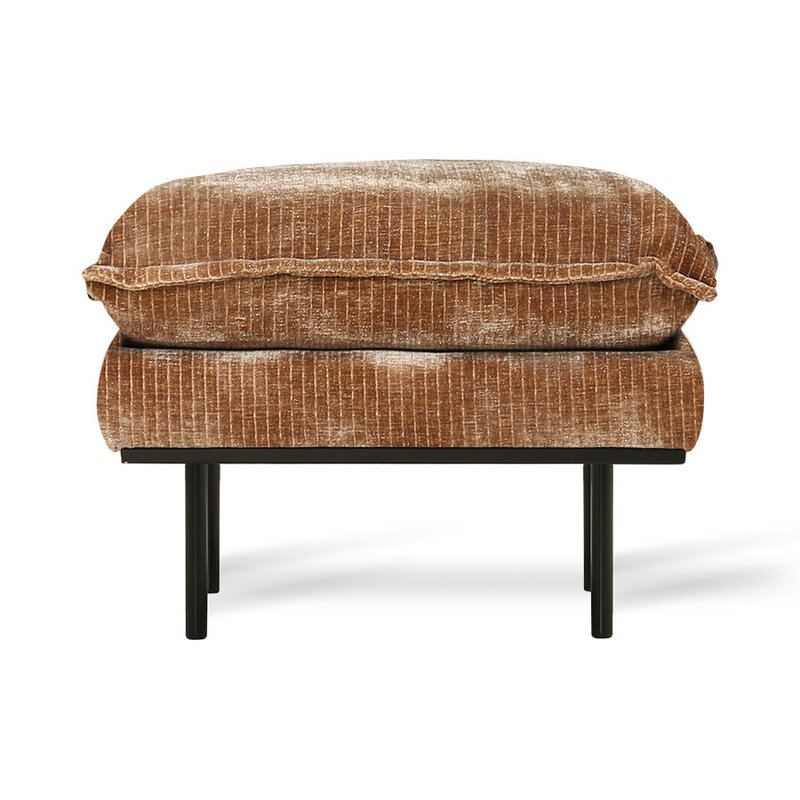 HKliving-collectie Retro sofa: hocker, velvet corduroy aged gold