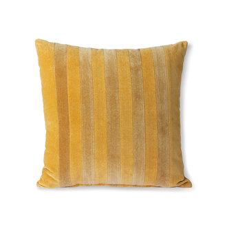 HKliving Striped velvet cushion ochre/gold (45x45)