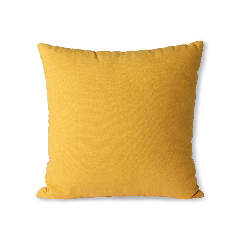 HKliving-collectie Gestreept fluwelen kussen oker / goud (45x45)