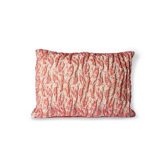 HKliving Floral jacquard weave kussen rood/roze 40x30