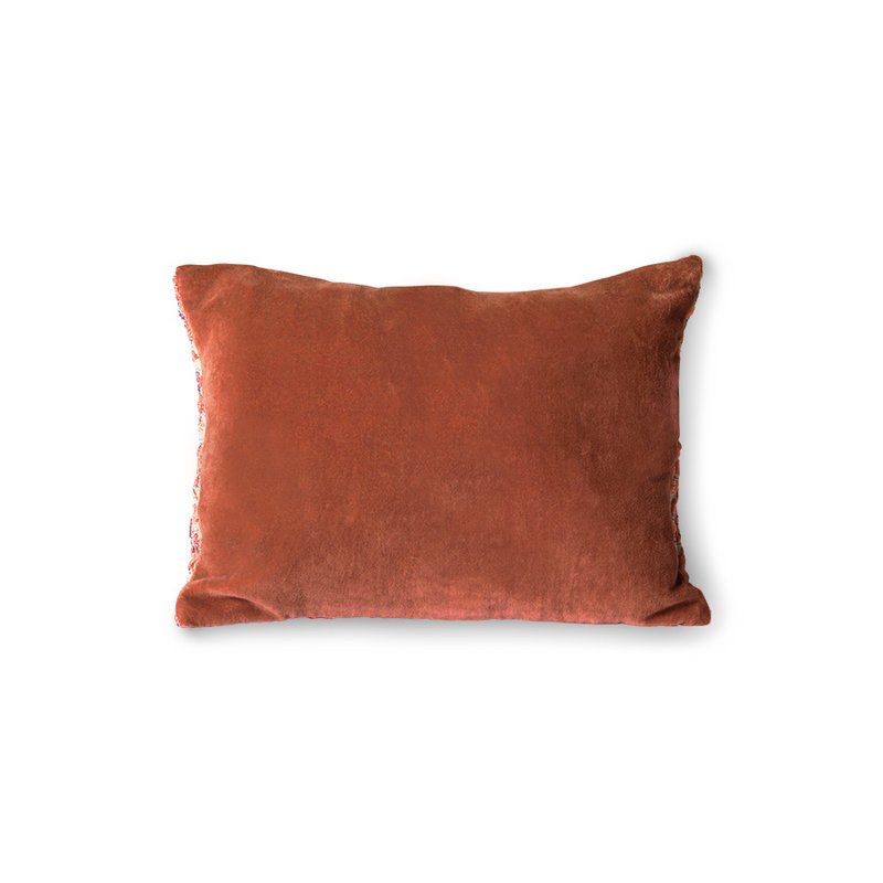 HKliving-collectie floral jacquard weave cushion red/pink (40x30)