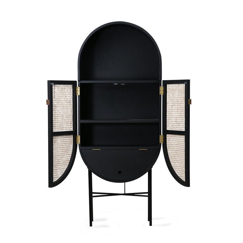 HKliving-collectie retro oval cabinet black
