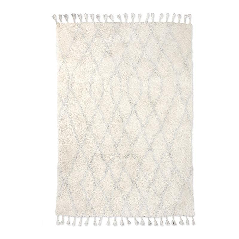 HKliving-collectie Wollen berber kleed zigzag lichtblauw 180x280