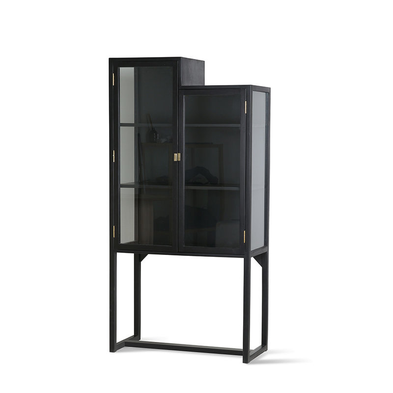 HKliving-collectie stairs cabinet showcase black wood
