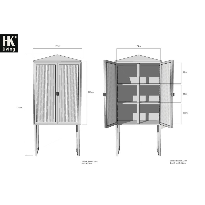 HKliving-collectie crested cabinet showcase black wood