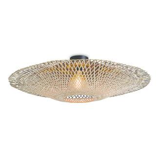Good&Mojo Ceiling lamp Kalimantan dia.87x20cm black/natural, L