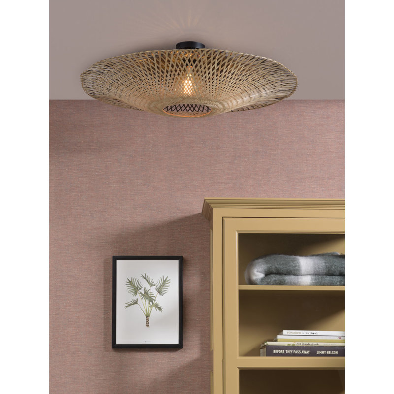 Good&Mojo-collectie Ceiling lamp Kalimantan dia.87x20cm black/natural, L