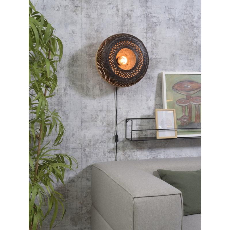 Good&Mojo-collectie Wall lamp Palawan 40x15cm nat./black, S