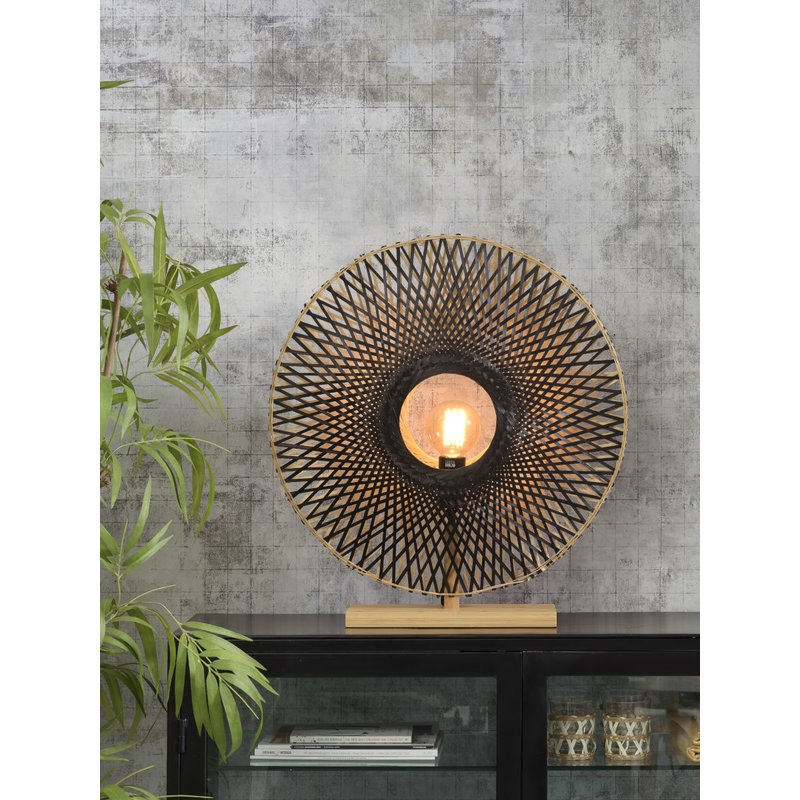 Good&Mojo-collectie Table lamp Kalimantan bamboo vertical dia.60cm bl./nat, L
