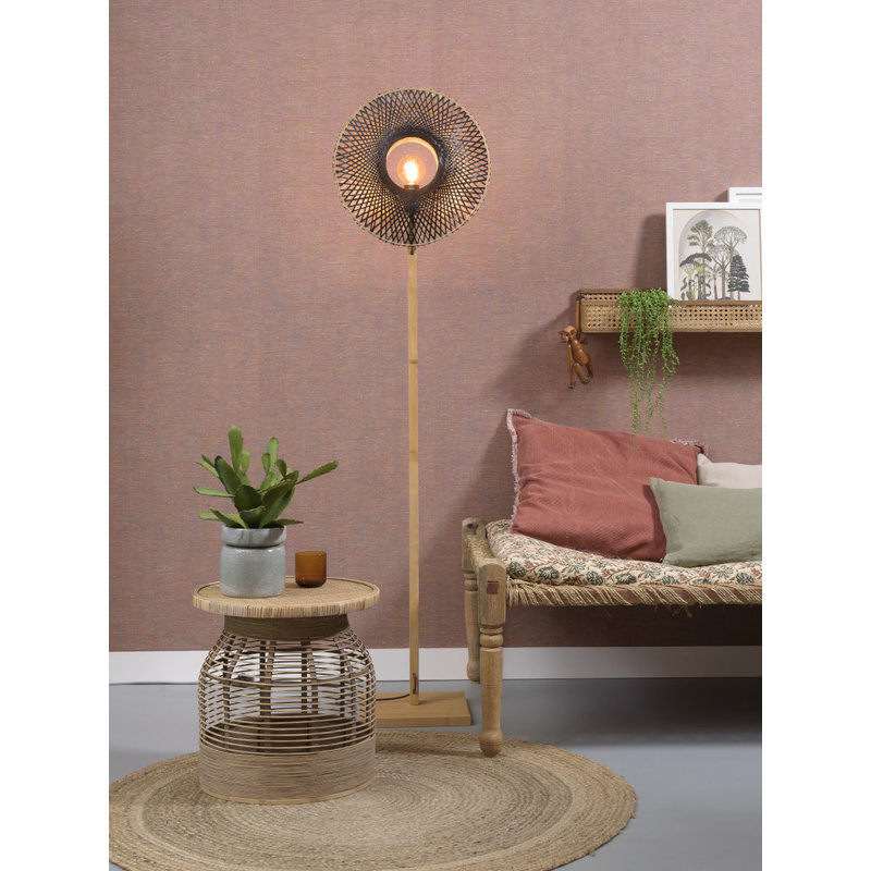 Good&Mojo-collectie Floor lamp Kalimantan  nat./shade vertic. 44x12cm b/n, S