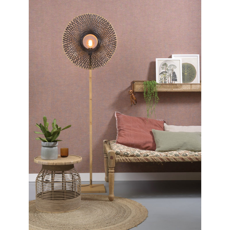 Good&Mojo-collectie Floor lamp Kalimantan  nat./shade vertic. 60x15cm b/n, M
