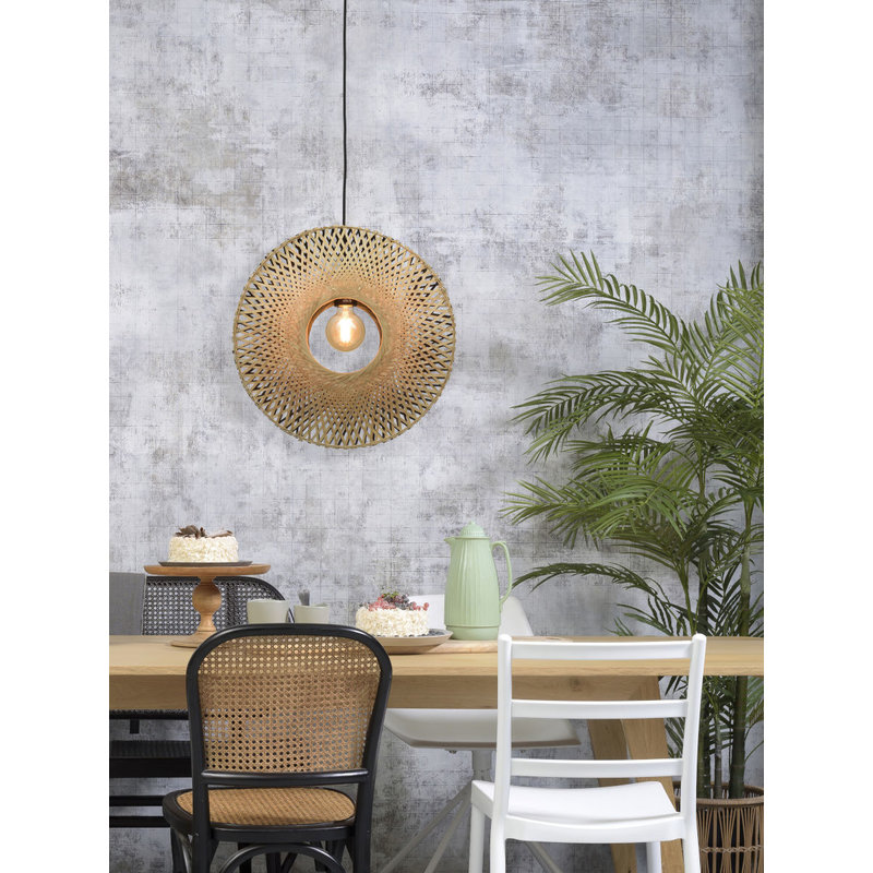 Good&Mojo-collectie Hanging lamp Kalimantan vertical dia.44x12cm bl./nat. S