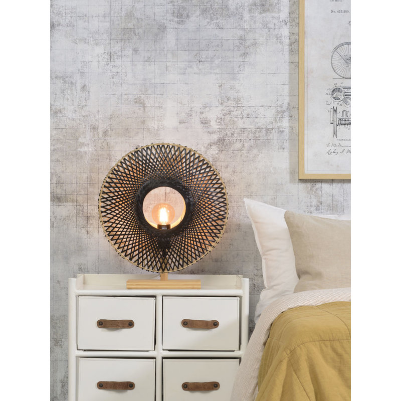 Good&Mojo-collectie Table lamp Kalimantan bamboo vertical dia.44cm bl./nat, S