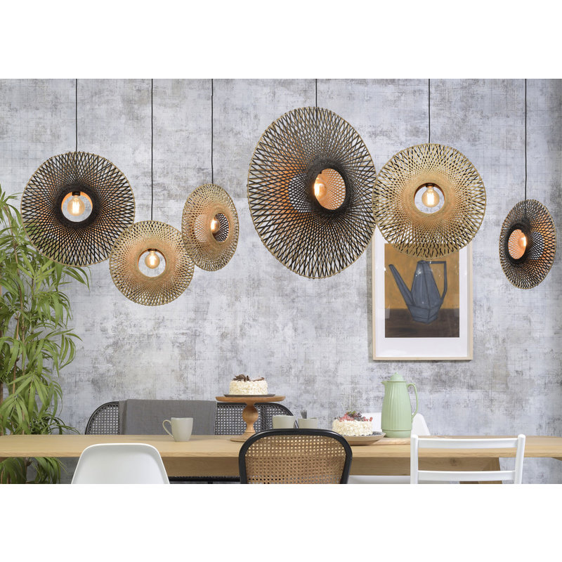 Good&Mojo-collectie Hanging lamp Kalimantan vertical dia.60x15cm bl./nat. M