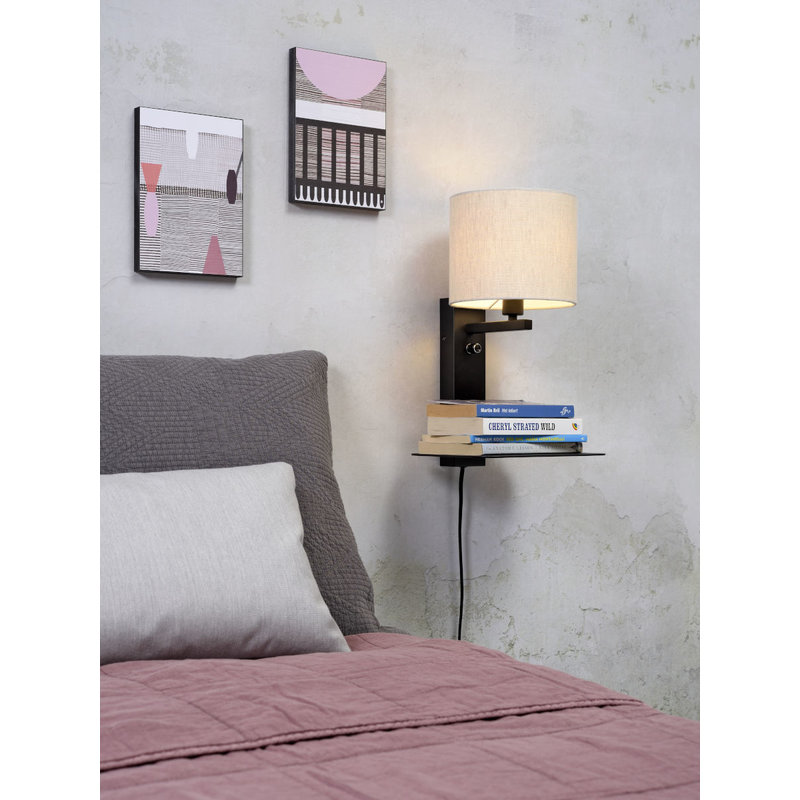 it's about RoMi-collectie Wall lamp Florence shelf+usb+shade 1815 l.linen