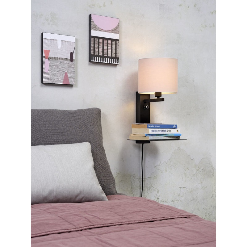 it's about RoMi-collectie Wall lamp Florence shelf+usb+shade 1815 taupe