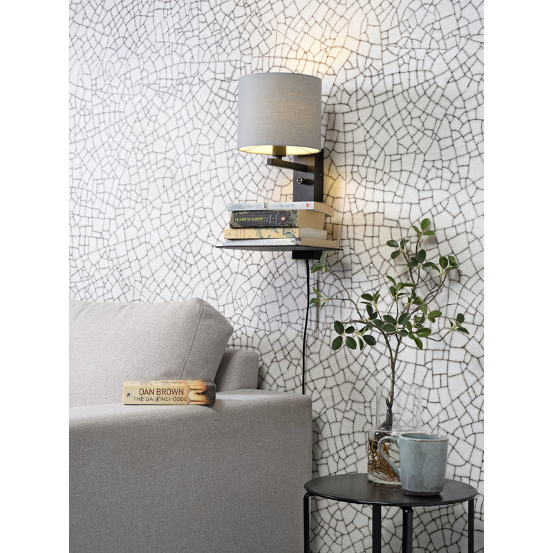 it's about RoMi-collectie Wall lamp Florence shelf+usb+shade 1815 l.grey
